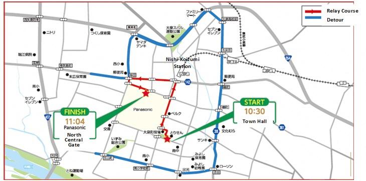 聖火リレー地図英語